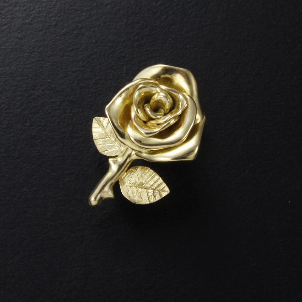 18k Yellow Gold Rose Motif Pin Brooch Kaznesq Handmade