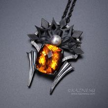 High quality citrine oxidized silver goth pendant necklace with a grayish akoya
