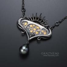Art Nouveau style Keum Boo picture and black baroque pearl oxidized silver penda