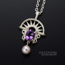 Art Deco style amethyst and akoya sterling silver pendant necklace