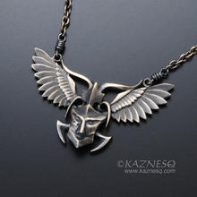 Angel winged demon oxidized silver pendant necklace