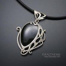 Velvet obsidian Art Nouveau style silver pendant necklace
