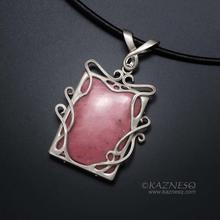 Pink stone Art Nouveau style silver pendant necklace